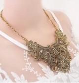 雕花花纹 复古 古金欧美复古金属几何花纹项链