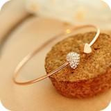 韩国饰品 带钻心形双爱心水晶手镯 开口镀金手链 女