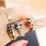 欧美复古饰品 个性小兔子 狐狸 猫头鹰 做旧戒指指环