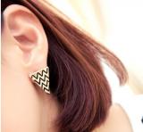 欧美饰品 夸张个性滴釉三角形波浪 女 耳钉耳饰
