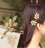 @特价@欧美复古森系 雅典娜橄榄枝树枝树叶 唯美新娘发夹边夹