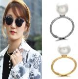 新款 双色简单秀气百搭珍珠细戒指
