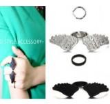 韩国饰品 翅膀两件套戒指女士 欧美夸张指环 韩国潮人新品