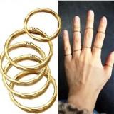 来自星星的你 千颂伊简洁凹凸面镀金指环