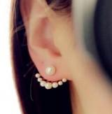 左右时尚精致百搭小珍珠后挂式可爱俏皮耳钉