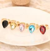 美饰品 时尚水滴戒指 宝石开口戒指 指环