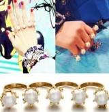 @@来自星星的你千颂伊戒指 4连排多连排套戒 珍珠戒指