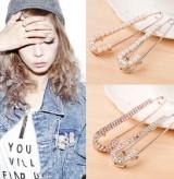 韩国饰品新款 珍珠水钻 超闪耀别针造型胸针 大别针胸针