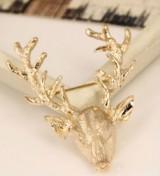 欧美饰品复古长角鹿别针 太平鸟麋鹿头小鹿胸针圣诞节男女