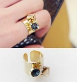 淑女时尚潮流方形水钻宽款夸张食指戒指环