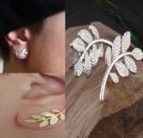 外贸爆款饰品 百搭时尚气质耳饰 金属树叶耳环叶子耳钉