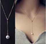 韩国锁骨可调节项链珍珠吊坠时尚项链珍珠母贝项链