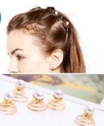 欧美发饰品 可爱精致珍珠旋转螺丝 小发夹盘发发卡头饰