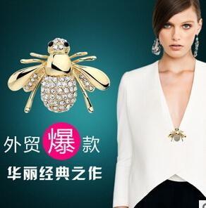欧美大牌可爱蜜蜂胸针水钻西装领针长裙开衫别针卖萌神器头