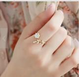 韩国时尚气质镶钻扭曲树叶如意花朵开口戒指 食指指环女