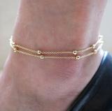 欧美外贸饰品 脚饰脚环 双层链条珠子脚链 速卖通ebay爆款