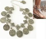 欧美FP风时尚波西米亚复古风格雕花钱币短款手链脚链2用
