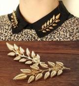 欧美风复古金色树叶子衬衫西装领针领扣衣领夹男女通用胸针