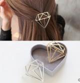 创意镂空合金钻石形状发饰发夹简约时尚青蛙扣边夹大号头饰