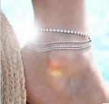 【4-3左右】欧美外贸热销脚饰 新款夏季热款街拍多层金属链条圆珠链闪钻脚链