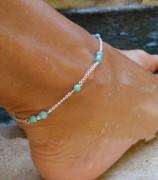 欧美速卖通外贸饰品 街拍同款 个性时尚全手工穿珠 松石珠子脚链