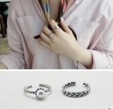 复古银色编织麻花镶嵌珍珠开口戒指指环女 时尚配饰