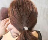 韩国新发饰时尚韩国满钻水晶花朵韩国淑女发圈皮筋发绳头绳