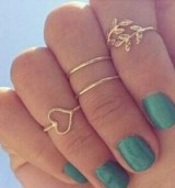 爱心 镶钻树叶叶子 4四件套戒指 ebay速卖通爆款