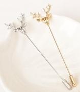 韩国复古胸针 男士小西装插式胸针饰品 原创复古鹿头插长针款