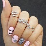 速卖通ebay爆款 戒指满钻树叶叶子3三件套戒指