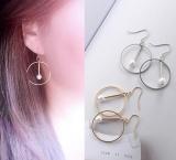欧美极简金银圆形珍珠几何镂空耳环 韩国气质款