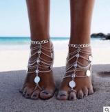 金属重工 钱币多层流苏链条脚链  欧美外贸饰品批发