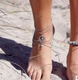 欧美外贸饰品 复古民族风镂空松石水滴沙滩脚链脚饰女