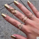 欧美时尚百搭镶钻箭头菱形三角形关节5五件套装戒指 速卖通饰品
