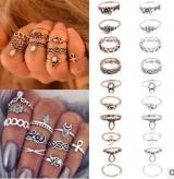 欧美复古夸张质感雕花组合十件套戒指 时尚百搭麻花花朵宝石指环