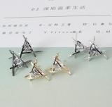 新款三角形锆石耳钉锆石 三角形铜耳环 耳钉 速卖通 爆款