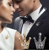 满钻水晶迷你小皇冠男女胸针 韩国复古西装西服衬衫衣领针