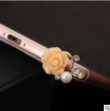 @树脂玫瑰花朵珍珠水钻手机防尘塞/耳机防尘塞