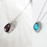 韩国饰品 奥地利水晶套装 项链水滴钻石毛衣链