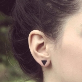 约黑色小耳钉几何迷你三角形气质百搭耳环女