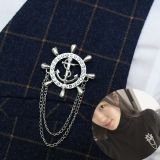 海军风高档链条流苏船舵男士女士胸针 日韩国潮人复古西装徽章 胸章