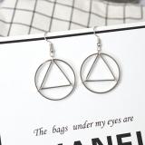 欧美外贸饰品 极简主义镂空三角圆圈几何造型百搭耳钉耳坠女
