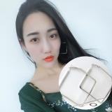 流时尚白合金韩国个性夸张夜店正方形大圆圈圈耳环女坠饰品