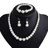 外贸货源欧美经典香巴拉钻圈 珍珠项链新娘套装