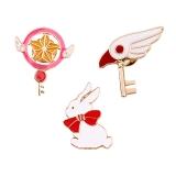 日系动漫卡通星杖鸟头杖制服滴油白兔胸针徽章