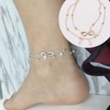 日韩小清新饰品女士合金脚链8字双层珍珠脚链热销美腿饰品