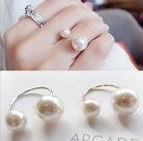 韩国正品手饰品 U形开口可调节大小珍珠戒指 优雅淑女款式