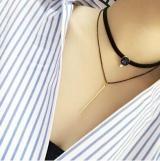 货韩国大牌双层蓝宝石锁骨链流苏皮绳项链项圈钻石竖条项饰