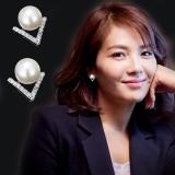 【4-7左右】韩国新款耳环饰品百搭不对称珍珠欢乐颂2刘涛同款耳钉女