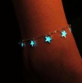 【8-12左右】夜光欧美淑女沙滩风蓝色五角星星流苏脚链 脚饰品